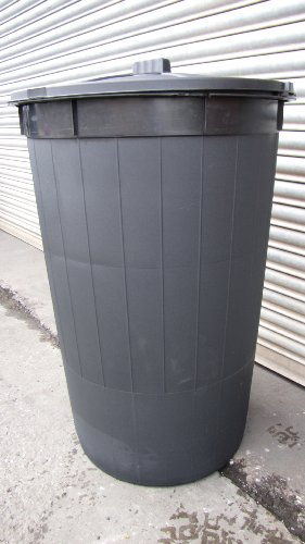 210 litre BLACK dustbin/refuse bin/bin/locking feature lid (made in the uk)
