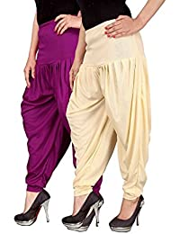 Navyataa Women's Lycra Dhoti Pants For Women Patiyala Dhoti Lycra Salwar Free Size (Pack Of 2) Purple & Cream