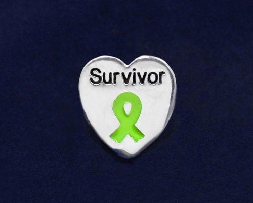 Lime Green Ribbon Pin- Survivor Tac Pin (50 Pins)