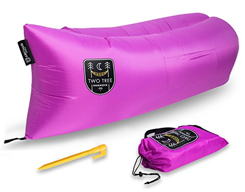 Air Chair Original™ - Outdoor Inflatable Lounger Ripstop Parachute Polyester Material Easiest LayBag Lounger to Inflate Blue Black Green Pink By Two Tree Hammock Co.™ (Purple) (Girls Gaming Chair compare prices)