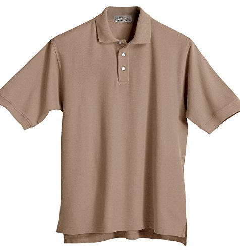 Tri-Mountain Men'S Big And Tall Pearl Button Golf Shirt, Khaki, 5X-Large Tall front-804731