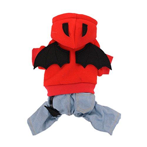 [Pet Dog Puppy Winter Warm Devil Bat Wings Denim Hoodie Halloween Costume Boy Girl Jumpsuit Clothes Fleece] (Bat Wings Dog Costume)