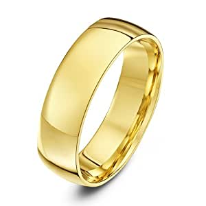 Theia 9ct Yellow Gold - Heavy Court Shape - Highly Polished - 6mm Wedding Ring for Men or Women - Size Y