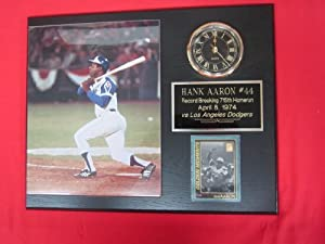 Hank Aaron Homerun #715 Collectors Clock Plaque w 8x10 VINTAGE Photo and Card by J & C Baseball Clubhouse