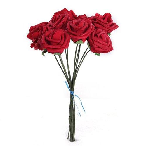 Mazzo di 10 Fiori Finto in PE Rosso Addobbi Feste Matrimonio Diametro 5,5CM