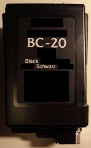 Druckerpatrone BC 20 Refill black für Canon Drucker BJC 2000 2100 2110 2115 2120 4000 4100 4200 4300 4400 4500 4550 4650 5000 5100 5500 S100 Fax B150C B160 B180C B210C B215C B230C EB10 EB15 Fax Multipass C100 C20 C2500 C30 C3500 C50 C5000 C5500 C635 C70 C80 S100 T-Fax 362 362PC 363PC 5500 5830 Fax 940 Apple Color Stylewriter 16-600 Panasonic UF342 UF344 Siemens Fax 940 IH-205