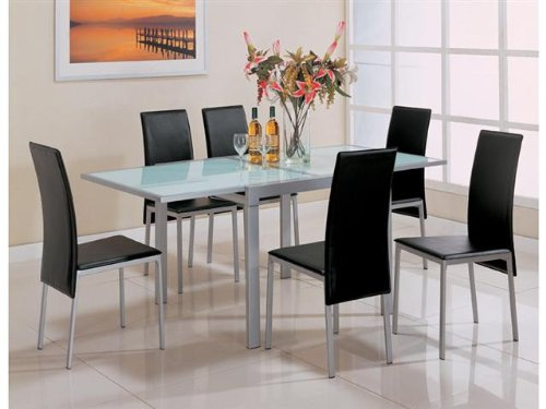 New Coaster Sunrise Frosted Glass Dining Table with Metal Extensions