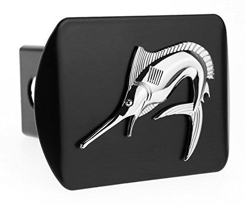 Marlin Swordfish Fishing fish 3d Chrome Emblem on Black Trailer Metal Hitch Cover Fits 2