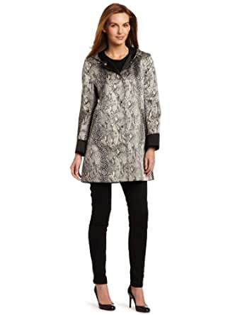 Larry Levine Women's Packable Hooded Satin Raincoat, Python, Small
