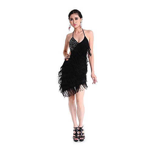 SymbolLife Womens Latin Dance Dress Ballroom Backless Fringe Skirts Cocktail Party
