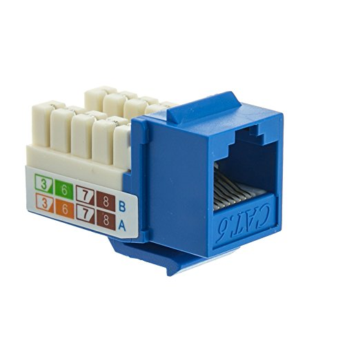 Cat6 Keystone Jack, Blue, RJ45 Female to 110 Punch Down - Inline UTP Lan Modular Patch Stand Punch Down Panel (Skechers Power Switch compare prices)