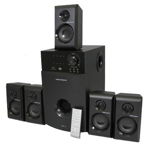 Theater Solutions 5.1 Multimedia Powered Home Theater Surround Sound Speaker System With Bluetooth Ts514B