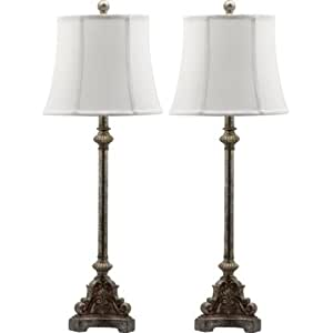 Set of 2 antique style lamps table lamp tall lamps accent for Bedroom nightstand lamps
