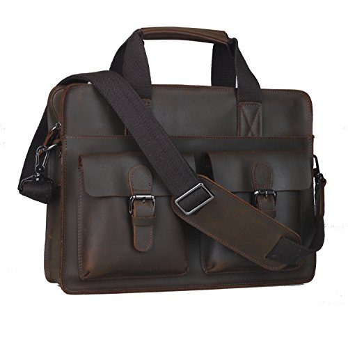 Polare Men's Full Grain Leather Messenger Bag Laptop Bag