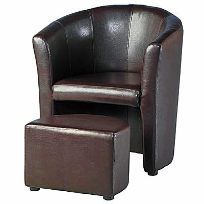 Brown faux leather tub chair with stool / arm chair