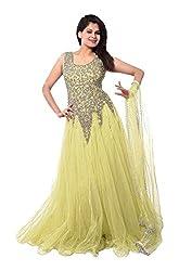 Pure Fashion Women's Net Unstitched Dress (Yellow)