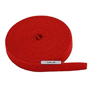 Image: MPI Fastening Tape 3/4 in One Wrap Velcro Hook + Loop Fastening Tape 5 yard/Roll - Red (.75 in) - Double sided, one side hook, the other side loop. Just wrap around and it will fasten on to itself.