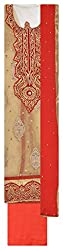 Punjabi Designer Suits Women's Net Unstitched Dress Material (Cream and Red)