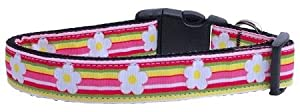 Mirage Pet Products Striped Daisy Ribbon Dog Collar, Medium
