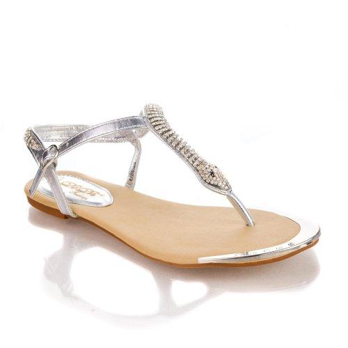 Saddy6 Silver Thong Rhinestone Studded Snake T-Strap Slingback Flat Dress Sandal-9 front-922683