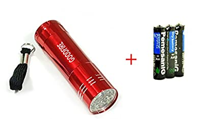 GOODFIRE New 9 LED Mini Travel Camping Outdoor Super Bright Torch Flashlight Lamp (Red)+3 x AAA Battery