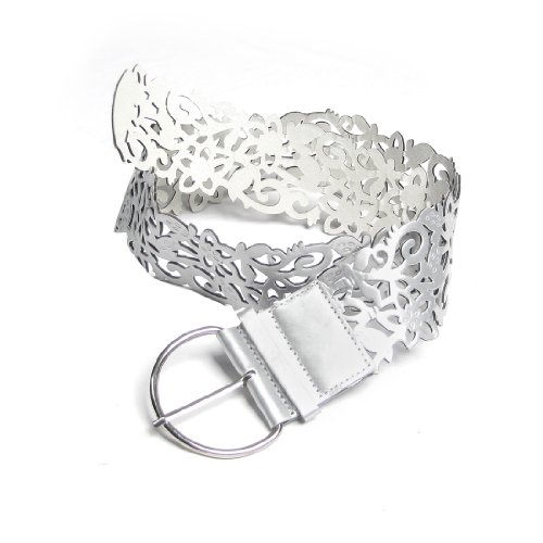 Ladies Silver Tone Faux Leather Cut Out Flower Pin Buckle Wide Belt