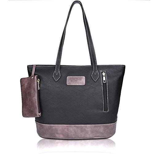 ZMSnow-Designer-PU-Leather-Tote-Handbag-Shoulder-Mix-Color-Bag-for-Women-Girl-Work-School