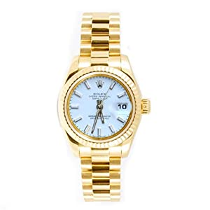 Rolex Ladys President New Style Heavy Band 18k Yellow Gold Model 179178 Fluted Bezel White Stick Dial