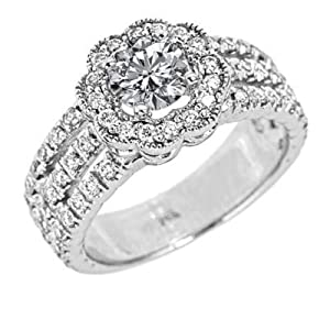 14k White Gold Round Brilliant Cut Diamond Engagement Ring Vintage Style Split Shank Design (1.60 Carats, VS-2/SI-1 Clarity, F Color) by ATR Jewelry