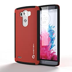 G3 Case, Ghostek Blitz Series for LG G3 Slim Premium Protective Hybrid Impact Hard Cover Carrying Case With Attached Screen Protector | Lifetime Warranty Exchange | Rubberized Trim | Non-Slip Grip Smooth Matte Coat | Ultra Fit (Red)