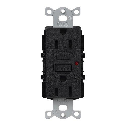 Lutron Scr-15-Gftr-Mn Satin Colors 15A Gftr Electrical Socket Receptacle, Midnight