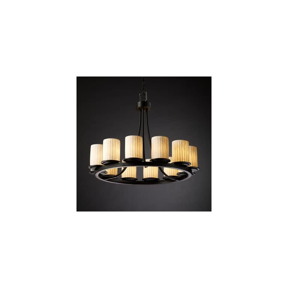 Limoges Dakota Matte Black & Waterfall Porcelain Chandelier