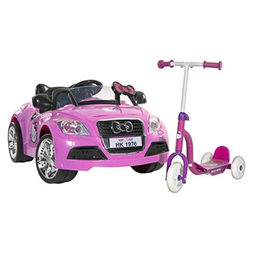 Hello Kitty 2 Pc Bundle - Ride-On Electric Sports Car Plus Hello Kitty 3 Wheel Scooter