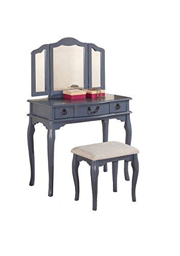 Poundex Bobkona Susana Tri Fold Mirror Vanity Table With Stool Set Gray Coc