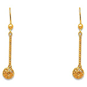 Wellingsale® Ladies 14k Yellow Gold Polished Ball Dangle Hanging Drop Earrings (37 x 5 mm)