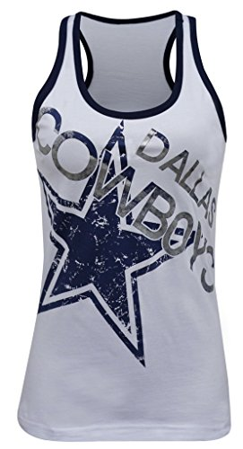 Double Max Womens Dallas Cowboys Vintage Crew-Neck Tank Tops - White (Size: L)