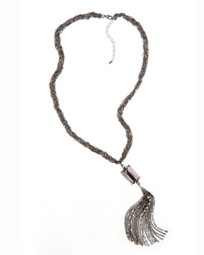 Stone & Tassel Necklace by Spiegel