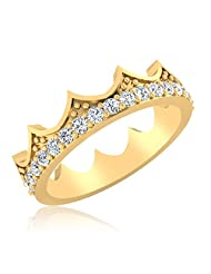 IskiUski Express Crown 925 Sterling Silver 14kt Gold Plated Round Cubic Zirconia Ring For Women