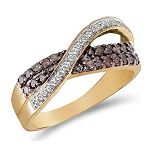 Click to buy Chocolate Diamonds: ½ Carat Chocolate and White Diamonds 14K Yellow Gold Band from Amazon!