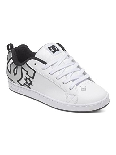 DC Women's Court Graffik Skate Shoe, White/M Silver, 9 M US