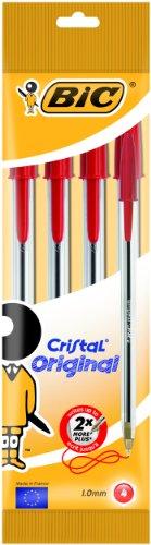Bic Cristal Original Punta Media 1 mm Confezione 4 Penne Colore Rosso