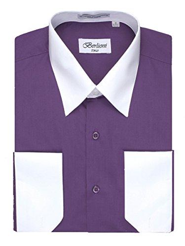 Men's Purple Two Tone Dress Shirt w/ Convertible Cuffs - XLarge 36 /37