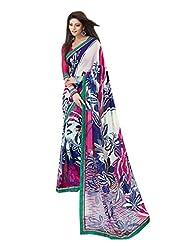 Indian Designer Sari Elegant Floral Printed Faux Georgette Saree By Triveni - B00NGFBI4I