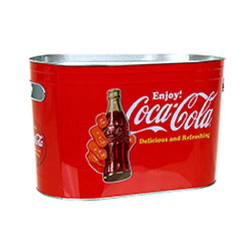 Coke Coca-Cola Vintage Look Oblong Metal Painted Ice Gift Bucket Tub Tote 0