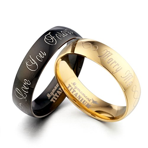 Personalize Groom & Bride Matching Yellow Gold Match Black Anniversary Wedding Band Ttianium Rings Set, Valentine's Day Gift US size 4-16.5 (half sizes available)