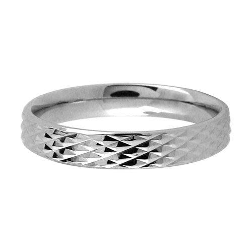 Size 5 - Inox Jewelry Women's Diamond Pattern 316L Stainless Steel Band Ring