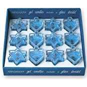 Star Of David & Dreidel Glass Shape Gel Candles