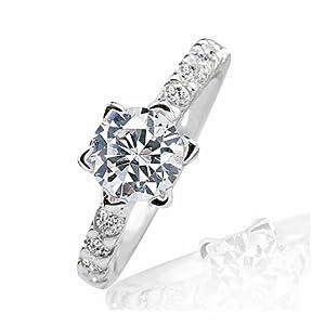Prjewel Beautiful 925 Sterling Silver 1.4 Carat Cubic Zirconia Ring Size N