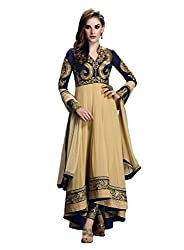 Aahna Fashion Women's Georgette Semi Stitched Dress Material (AFSU638_Beige_Free Size)