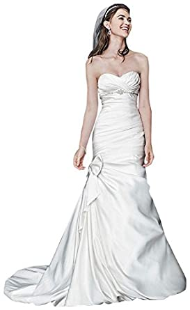 Petite Satin Mermaid Wedding Dress with Bow Detail Ivory, 8P